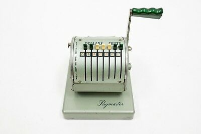 Vintage - Paymaster Payroll Check Writer X-550 Series Green w/ KEY!
