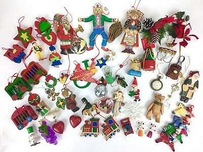 LOT OF 56 Vintage Modern Mix Christmas Ornaments Wood Ceramic Glass Pull String