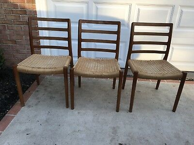 3 JL Moller Teak Mid Century Modern Dining Chairs AS IS READ DESCRIPTION