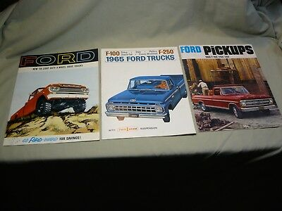 Lot of Three Vintage 1959, 65 & 69 Ford Truck Dealer Brochures