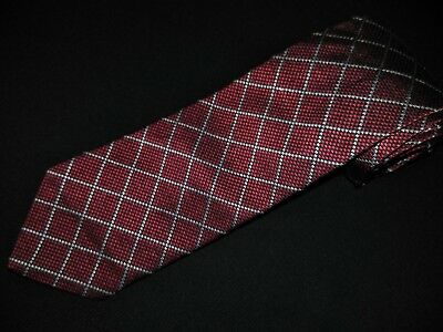 New Brooks Brothers Tie Burgandy Silver Plaids Thick Woven Luxury Woven Silk NWT