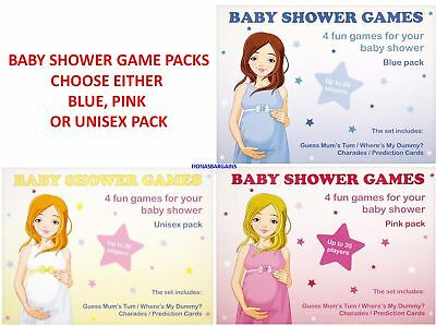 NEW Baby Shower 4 Game Pack - Choose either Blue Boy Pink Girl or Unisex Pack