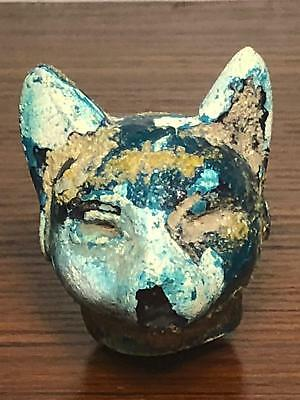 RARE Ancient Egpyptian green glazed Bastet as a cat, middle  glazed 2055-1650 bc