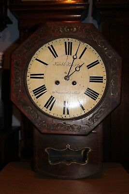 Very Rare Double Fusee Wood Framed Movement Black Forest Drop Dial Wall Clock.