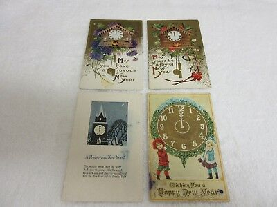 Lot of 4 Vintage New Year Postcards All with Clocks