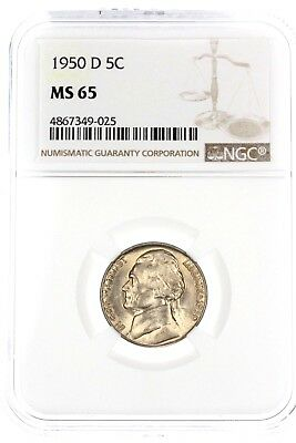 1950-D Jefferson Nickel 5C NGC MS65 GEM BU Coin TONED BEAUTY! #5538
