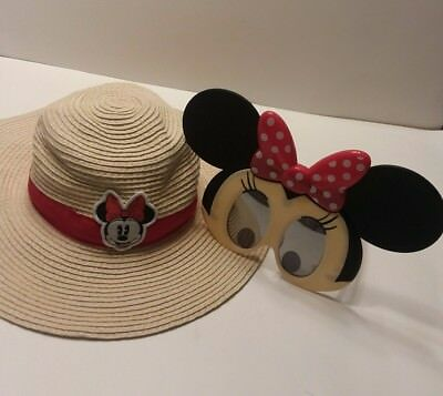 Disney Baby Minnie Mouse Floppy sun Hat 12 24M and Minnie Sun Staches  Glasses 3c5c46bb2fb
