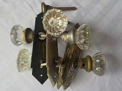 2 PAIR ANTIQUE GLASS DOOR KNOBS plus misc...