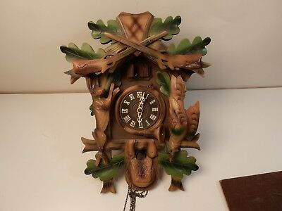 VINTAGE BLACK FOREST GERMANY HUNTER STYLE  CUCKOO CLOCK  Ludwig Nowak