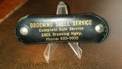 Vintage Baltimore Md Broening Shell Gas Station Lesther Key Holder