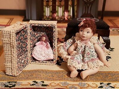 Miniature Artisan Vintage Signed Porcelain Doll With Her Dolly