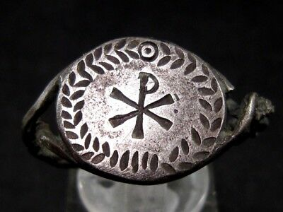 Extremely Rare Late Roman *chi-Rho* Sign Christian Silver Ring+++