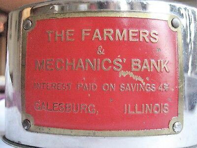Galesburg, IL vintage Advertising Coin Bank 'Farmers and Mechanics' Illinois