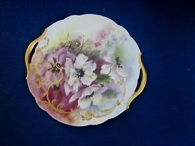 Hand Painted T&V Limoges France Cake Plate Oriental Poppies, Signed