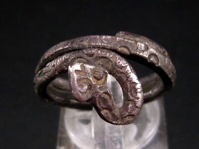 Extremely Rare Roman Silver Snake Ring, As Found+++Top Condition+++
