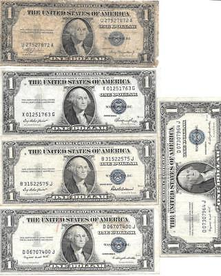 5 Vintage 1935 $1 Silver Certificates ~ Series A, E, F, G (2)