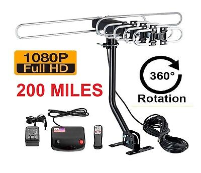 200 MILES OUTDOOR TV ANTENNA MOTORIZED AMPLIFIED HIGH GAIN dB HDTV  UHF VHF FM