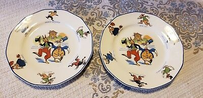 2 1920s/30s Uncle Wiggly Characters Childrens plates Sebring China Advertising