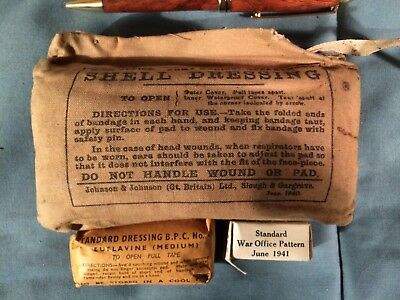 3 British Bandages Shell Dressing Original World War 2 WW2