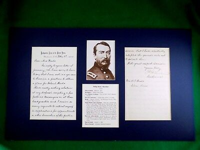 PHILIP SHERIDAN Union General Autographed Letter Signed with Matted Photo