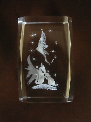 Laser etched clear block with dragons & stars. Decor/paperweight. NEW