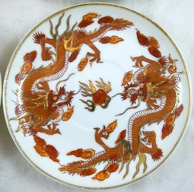 Set 4 Rare NIPPON TOKUSEI Red & Gold Dragons HP Saucers c 1930s Showa Rising Sun
