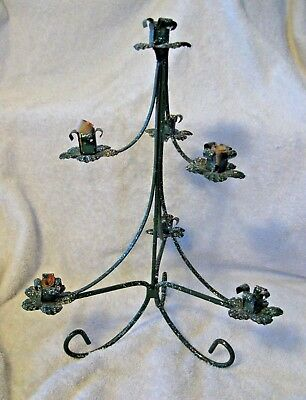 VTG Mid Cent. Wrought Iron/Glitter Xmas Tree Candelabra Candle Stand Centerpiece