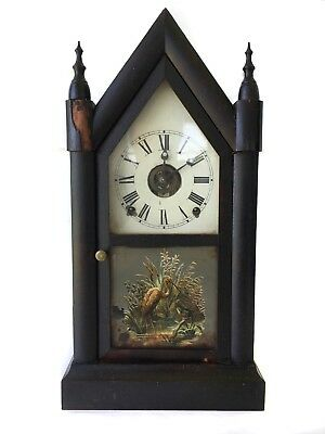Rare Welch Antique 8 Day American Gothic Strike Shelf Clock With Alarm Feature