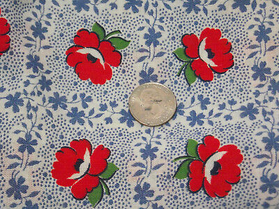 Vintage cloth feed sack floral and dots print - quilt or craft project fabric