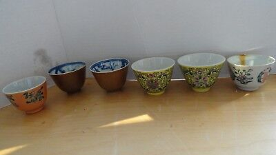 6 old cups chinese porcelain lot mix 2 marked vintage hand painted mix