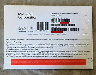 Microsoft Windows Server 2016 Standard 64bit 16 Core OEM P73-07113 New Sealed