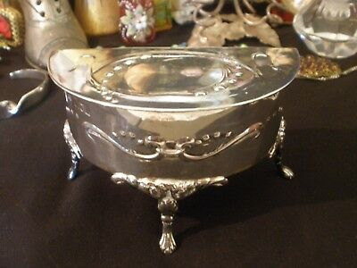 Antique ART NOUVEAU Sterling Silver FOOTED Lilly JEWELLERY Trinket BOX 1905 VGC