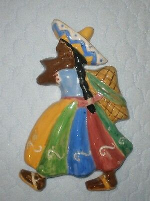 Vintage AUSTRALIAN POTTERY Figure WALL PLAQUE Mexican Lady