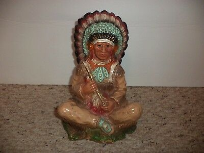 Vtg 1972 Universal Statuary Corp Native American Indian Chief Peace Pipe Statue