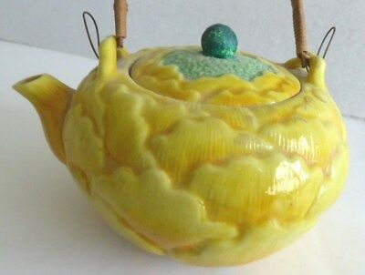 "Rare Antique Japanese Banko glazed clay 4"" Miniature Peony Flower Shaped Teapot"