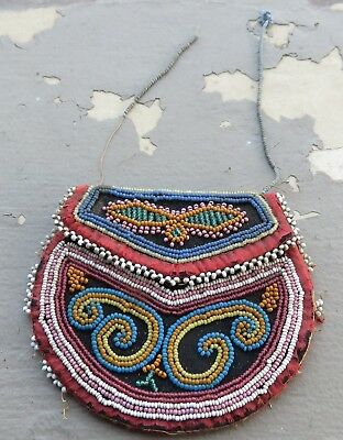 Very Nice Early Antique Iroquois Double Sided Beaded Bag Native American Indian