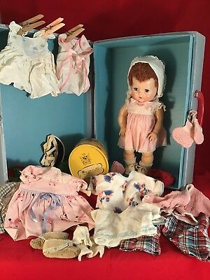 1950's Amer. Characrer Tiny Tears Doll, Case, Mini Hatbox, Misc. Clothes, Hats