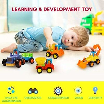 Friction Powered Cars Push and Go (4 Pack), Construction Vehicles Toys for Toddl