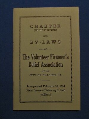 CHARTER / BY-LAWS Booklet Volunteer Firemen's Relief Association Reading PA 1968