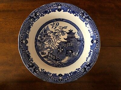 VINTAGE BLUE AND WHITE 22cm SERVING DISH.