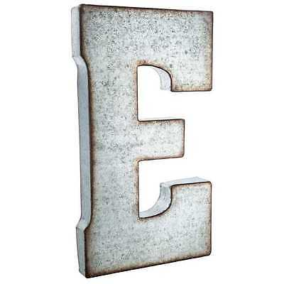 """Large 20"""" Silver Galvanized Vintage Metal Letter & Marquee """"E"""". Monogram."""
