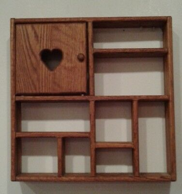 Vintage Wooden Wall Shelf With Heart Cut Out Door 14' X 14' X 2.5'
