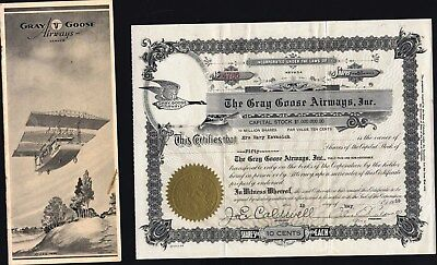 Gray Goose Airways, Inc., Nevada, 1930, +10 Page Illustrated Promotional Booklet