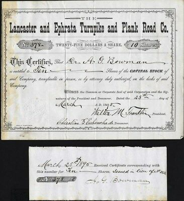 Lancastere And Ephrata Turnpike And Plank Road Co, 1896, Uncancelled Stock Cft.