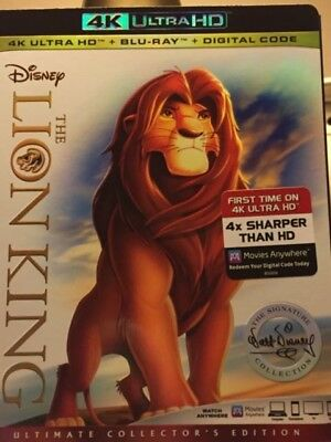 The Lion King 4K UltraHD + Blu-ray Movie w/Cover Ultimate Collector's Edition