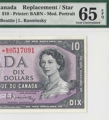 1954 Bank Of Canada Qeii $10 **star Note** (( Pmg 65 Epq ))