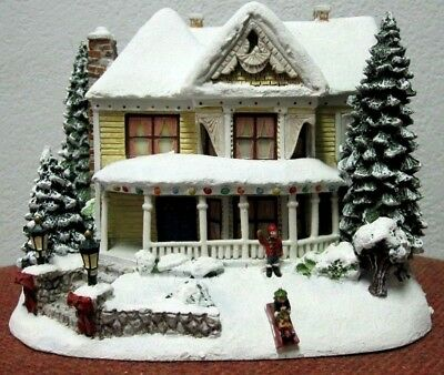 Train Hawthorne Village Thomas Kinkade Christmas Victorian Homestead free SH