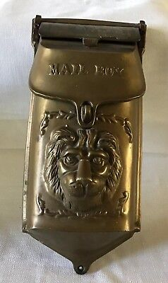 Vintage Heavy Brass Lion Head Mail Box ,original Patina Great!!