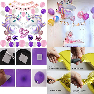 Unicorn Party Supplies Balloons Birthday For Kids Decorations Happy Banner 33 PC