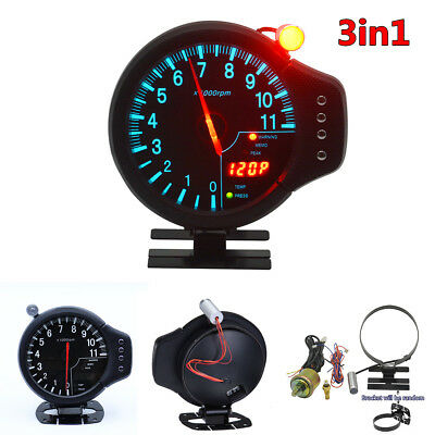 3 in 1 Car Meter Tachometer RPM Water Temp Oil Pressure Gauge Meter With Warning